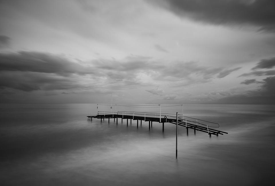 Iskele, Black And White, Marine, Sky, Landscape, Water