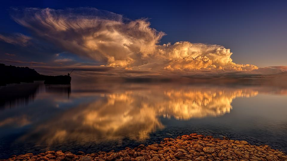 Sea, Mirroring, Clouds, Water, Backlighting, Evening