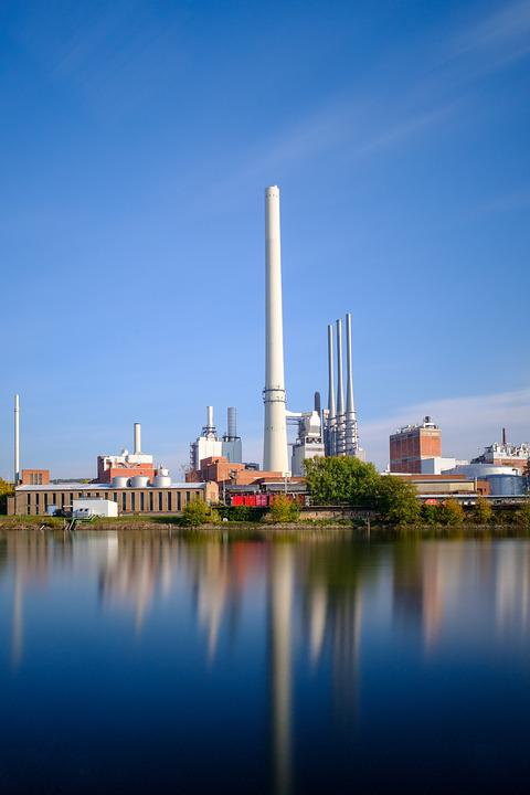 Mirroring, Water, River, Industry, Industrial Plant