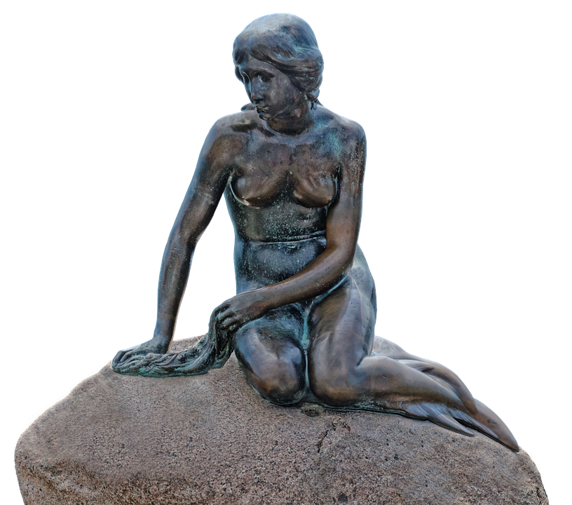 Water, Monument, Copenhagen, Denmark, Mermaid