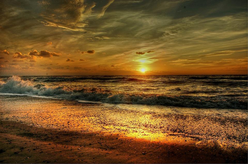 Beach, Sun, Sea, Sunset, Romantic, Mood, Sky, Water