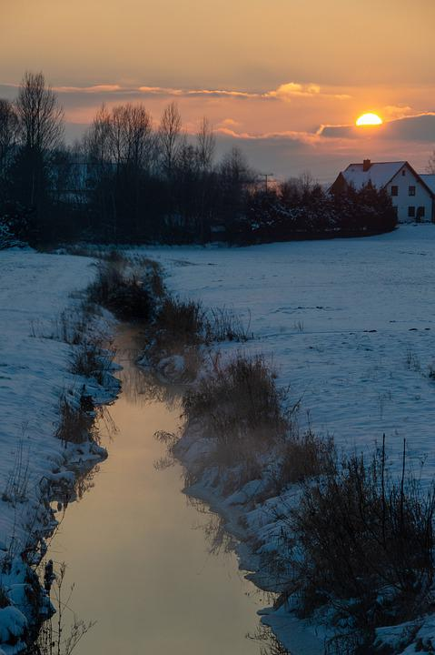 Winter, Morning, Morgenstimmung, Cold, Water, Bach