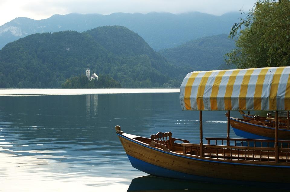 Boat, Lake, Mountain, Water, Church, Slovenia