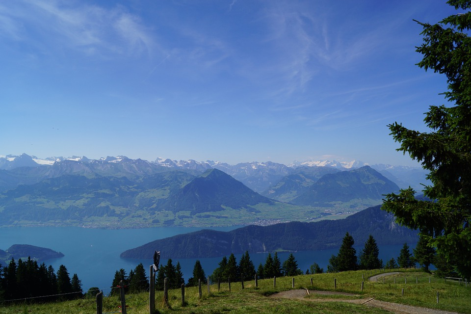 Lake, Lake Lucerne Region, Clouds, Water Mountains Alps