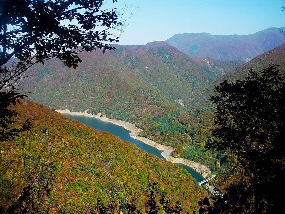Japan, Lake, River, Water, Landscape, Mountains, Forest