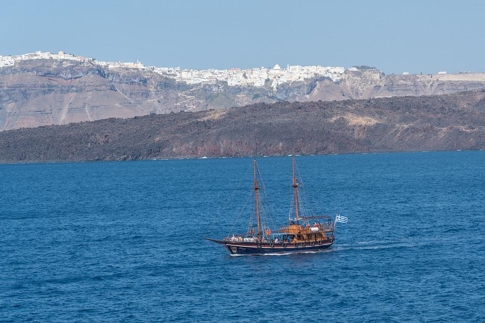 Santorini, Pirate Ship, Mountains, Water, Scenery, Boat