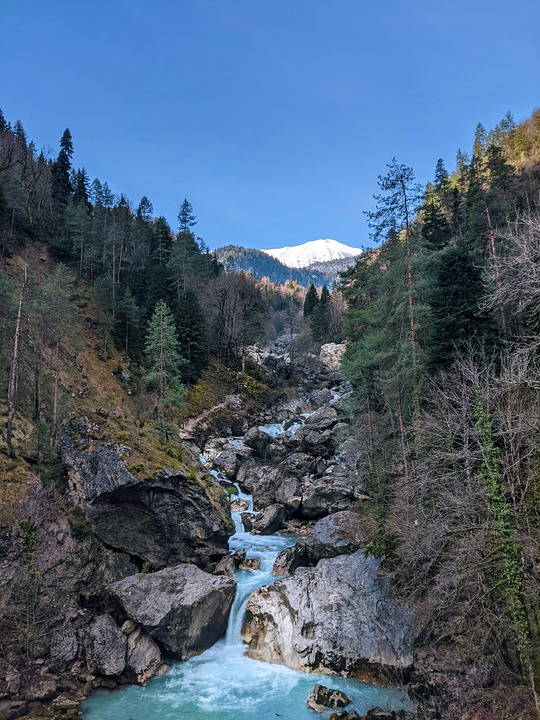 River, Mountains, Nature, Trees, Water, Forests, Winter
