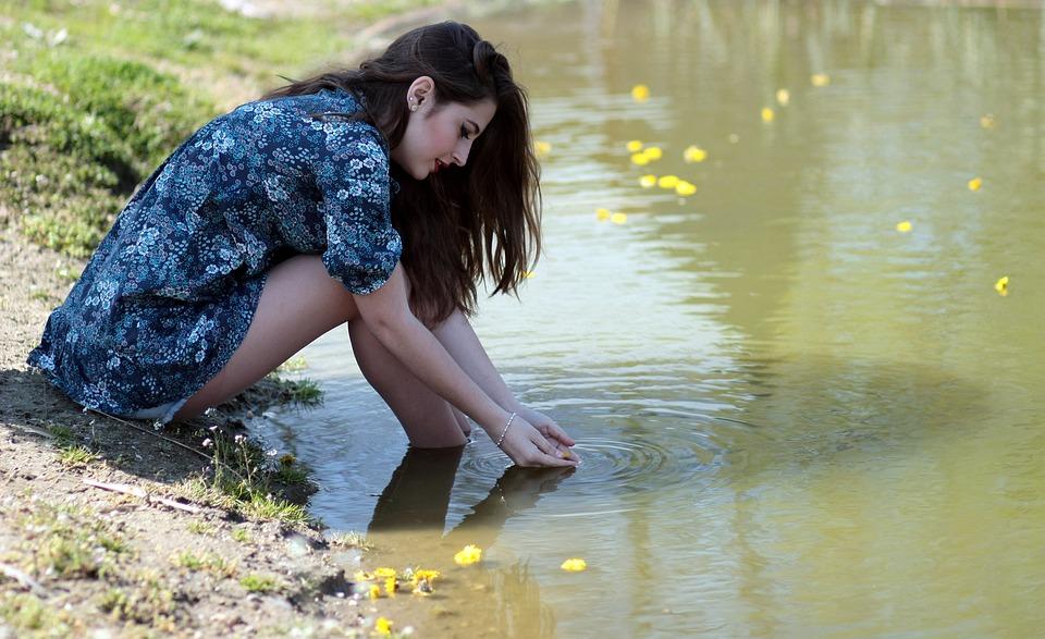 Girl, Water, Flowers, Beauty, Lake, Nature