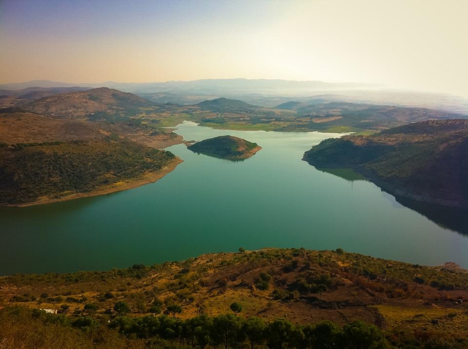 Lake, Hills, Sky, Nature, Landscape, Water, Mountain