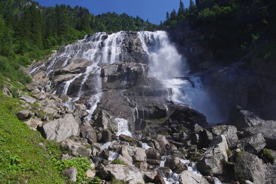 Waterfall, ötztal, Nature, Wild, Summer, Tyrol, Water