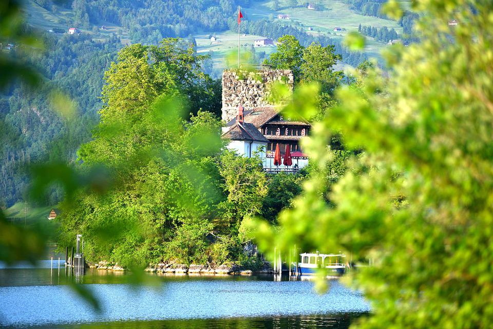 Village, Lake, Lauerz, Water, House, Building, Nature