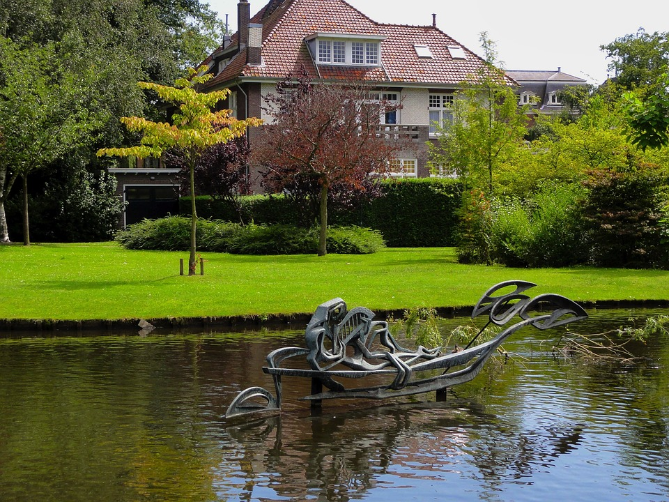 Gouda, Netherlands, House, Home, Pond, Lake, Water