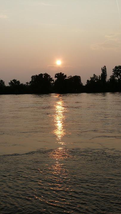 Sunrise, Nierstein, River, Sun, Mood, Water