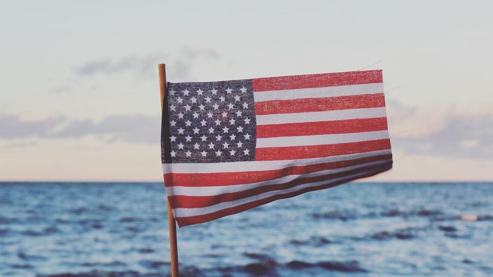 Sea, Ocean, Water, Nature, Horizon, Clouds, Sky, Flag