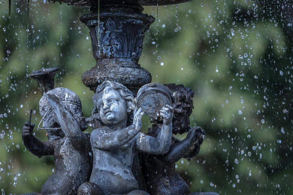 Fountain, Angel, Water, Statue, Garden, Old