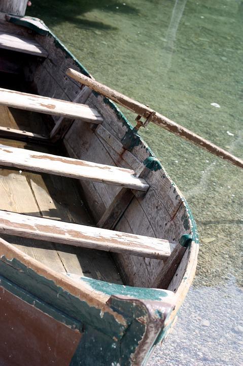 Boot, Lake, Water, Old