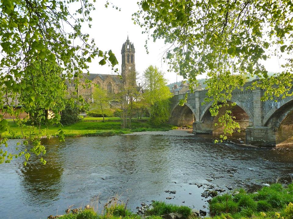 Church, River, Village, Outside, Nature, Water, Bridge