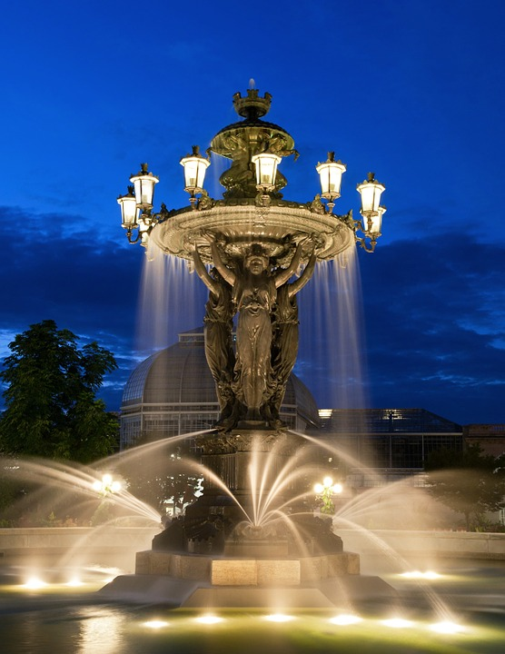 Fountain, Water, Night, Evening, Outside, Washington Dc