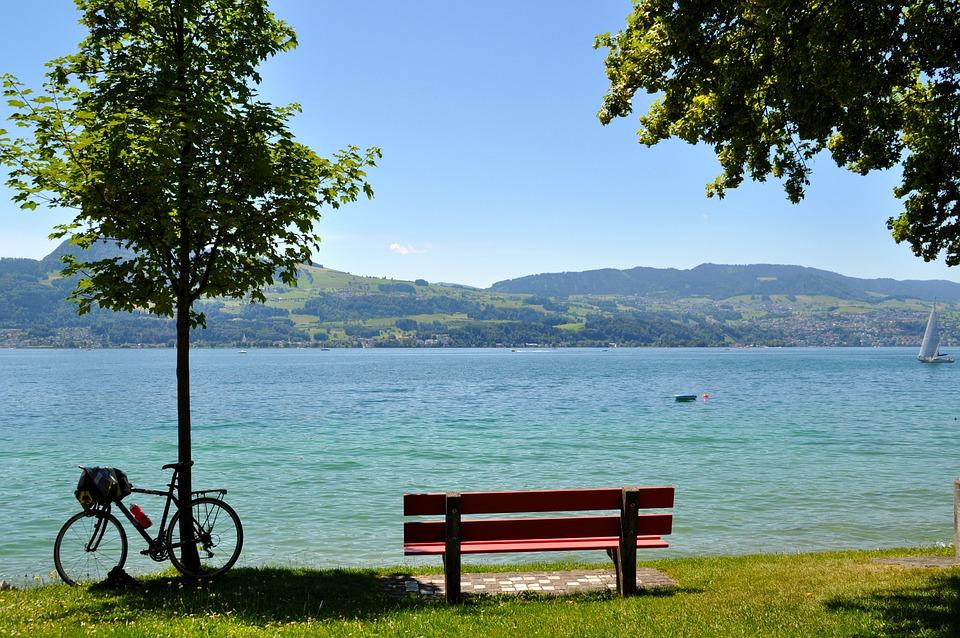 Lake Zurich, Park Bench, Water, Rest, Break, Landscape
