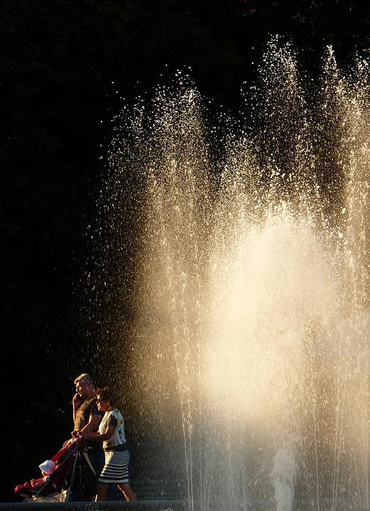 Fountain, Bright, Sun, Sunny, Water, Spray, People