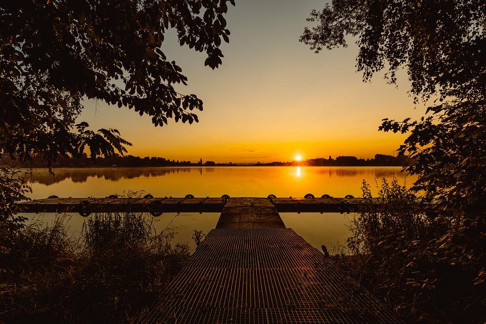 Sun, Water, Pier, Landscape, Nature