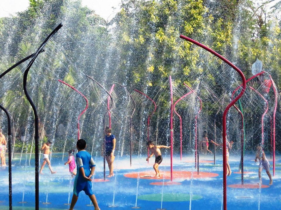Children, Water Play, Baby Shower, Garden By The Bay