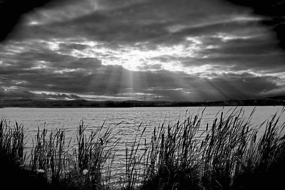 Rays Of God, Sun, Water, Lake, Pond, Distaff, Nature