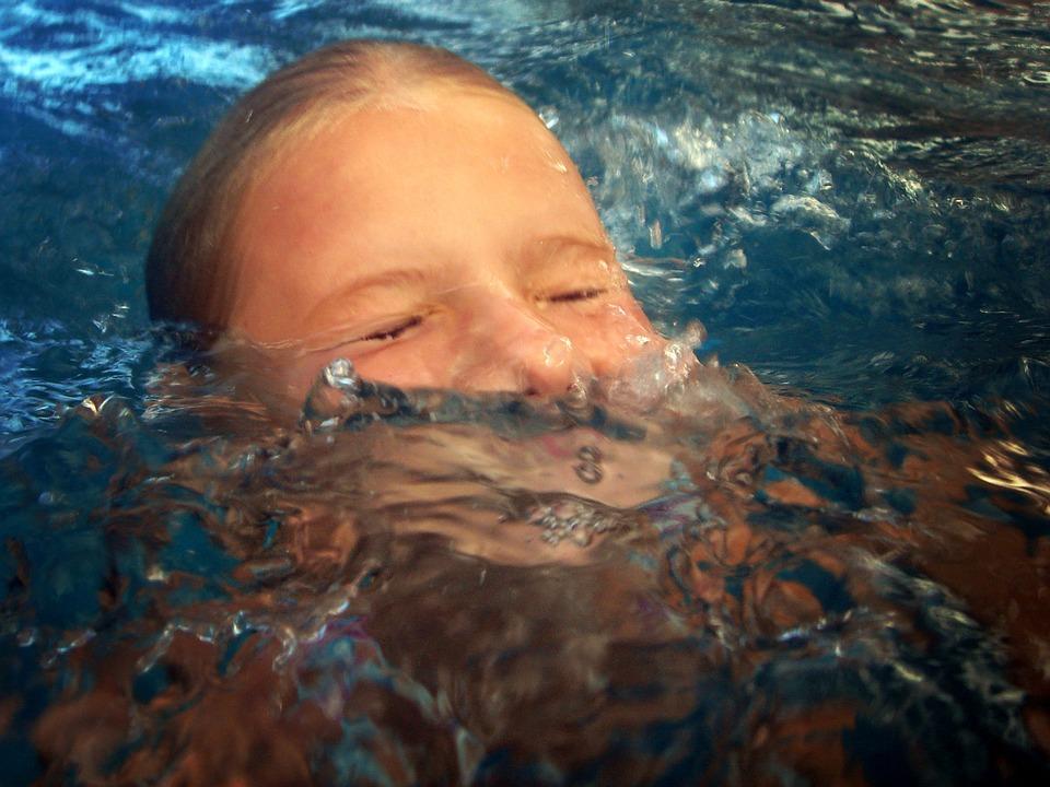 Girl, Swim, Emerge, Submerge, Water, Pool, Swimming