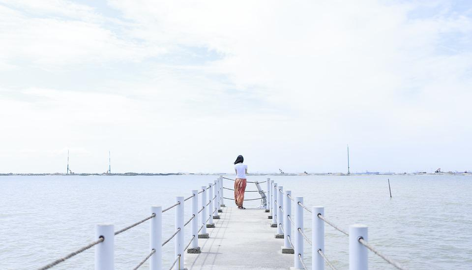 Girl, Sea, Pier, Woman, Quiet, Calm, Nature, Water
