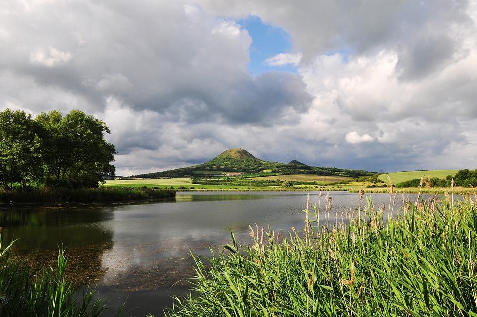 Landscape, Reeds, Pond, Water, Hill, Clouds, Sky