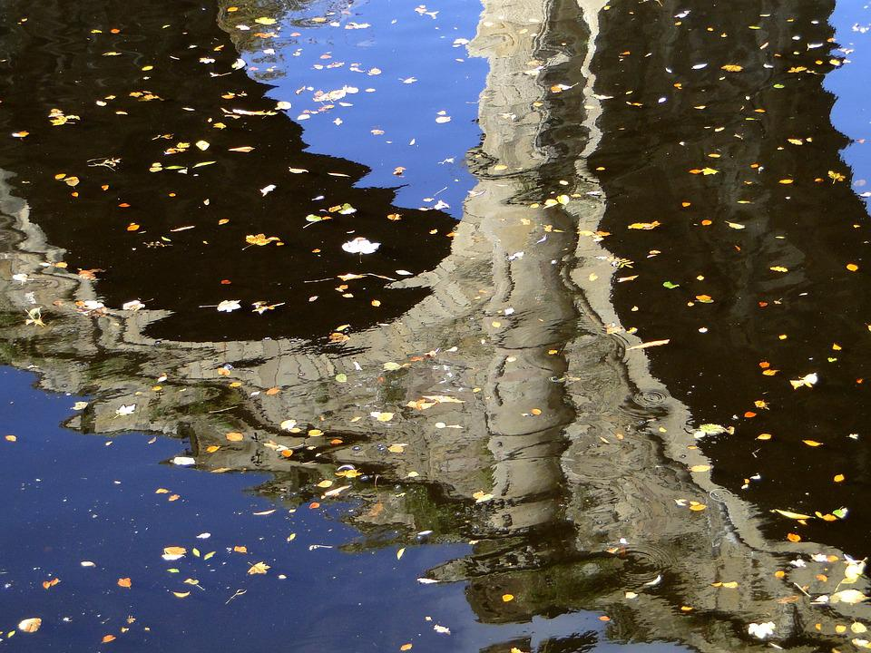 Water Reflection, Autumn, River, Bridge, Leaves