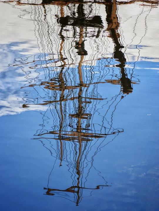 Reflection, Water, Wood, Ship, Lake, Sea, Ocean, Blue