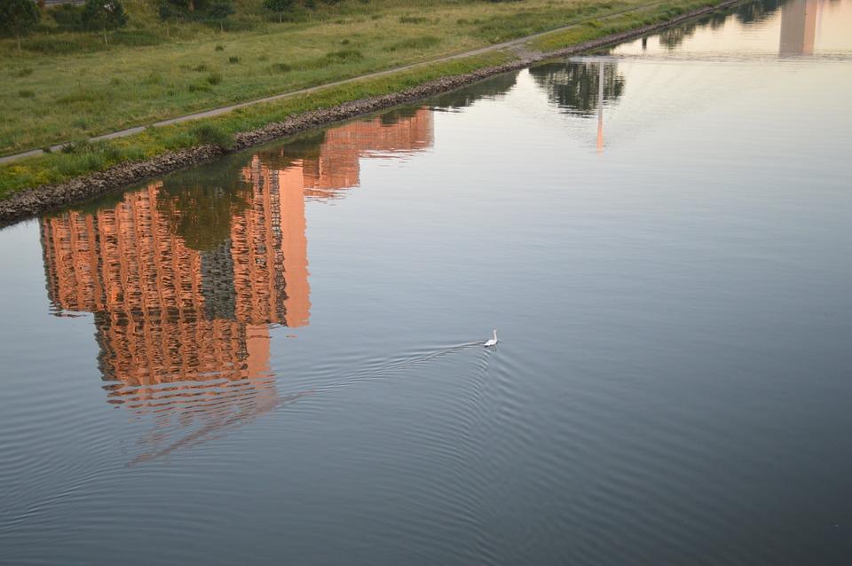 Mannheim, Neckar, Water Reflection
