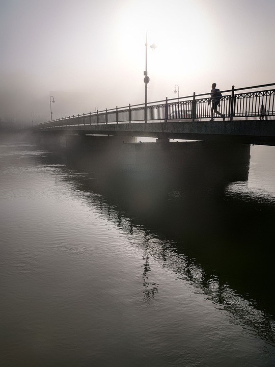 Fog, Bridge, River, Water, Lech, Reflection