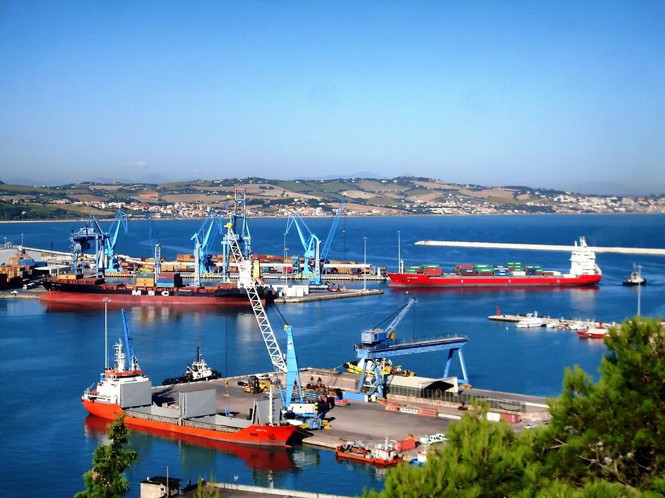 Anacona, Italy, Port, Harbor, Sky, Water, Reflections