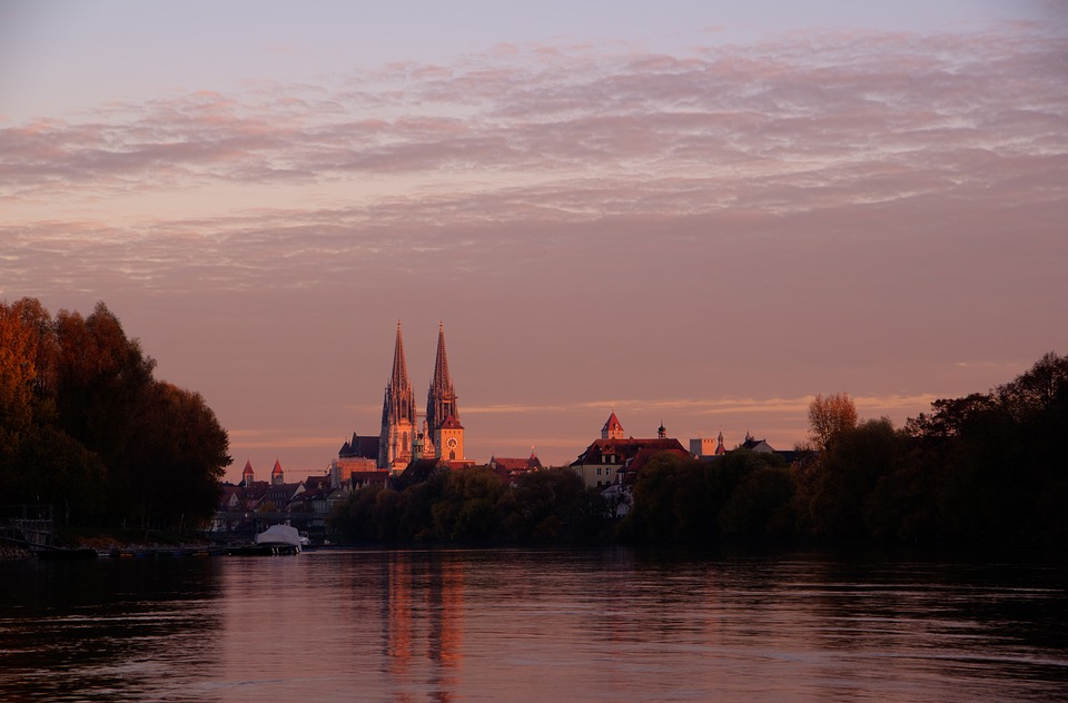 Regensburg, Afterglow, Evening Sky, Water, Danube