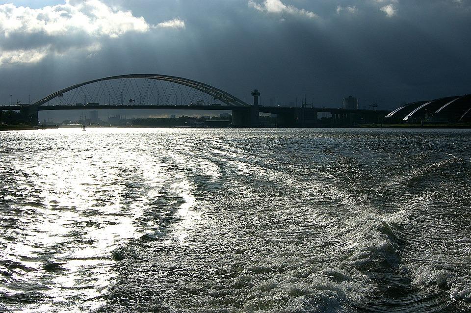 Rhine, River, Bridge, Current, Holland, Water, Shipping