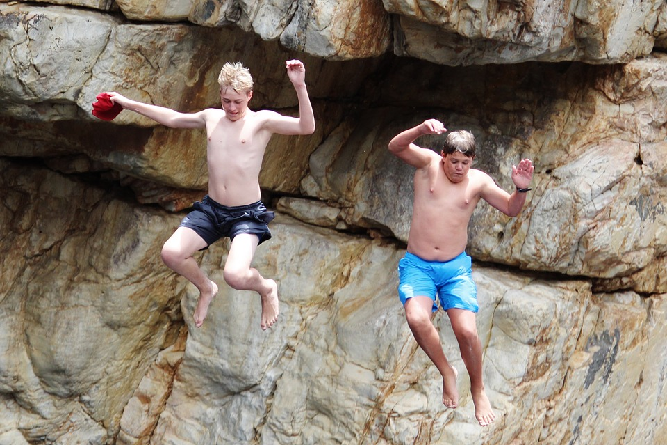 Children, Jump, Rock, Water, River, Dared, South Africa