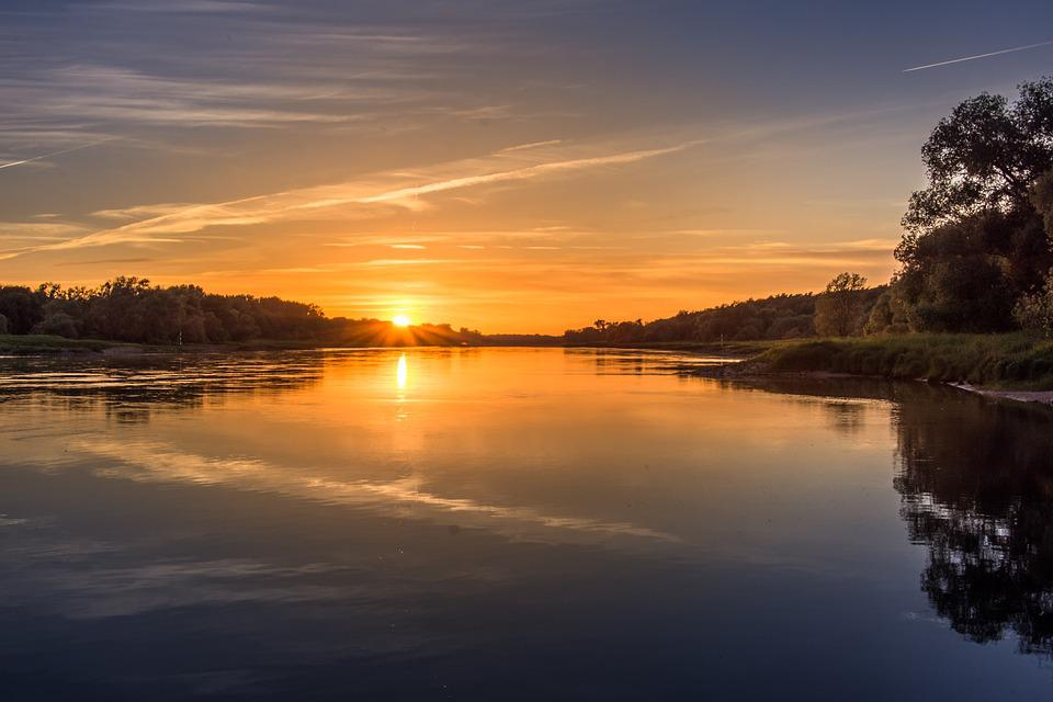 Sunset, River, Elbe, Abendstimmung, Water, Evening Sky