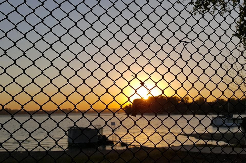 Sunset, Water, Serbia, The Danube, River, Fence, Wire