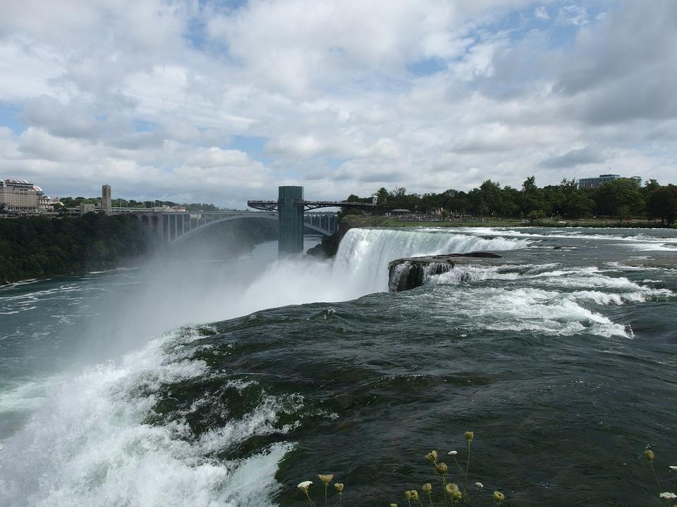 Waterfall, Waterfalls, River, Nature, Sketch, Water