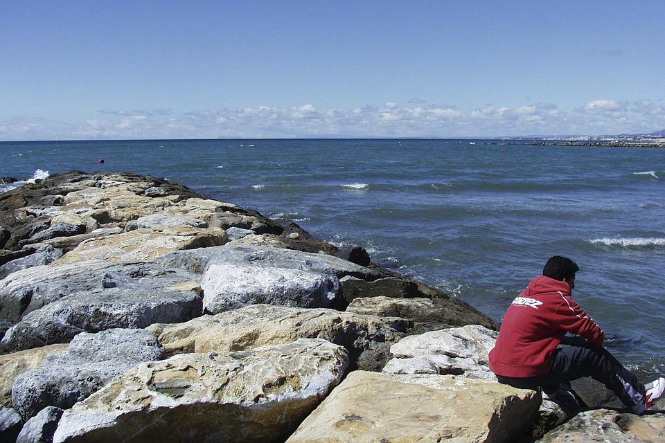 Spain, Marbella, Coast, Rocks, Water, Mediterranean Sea