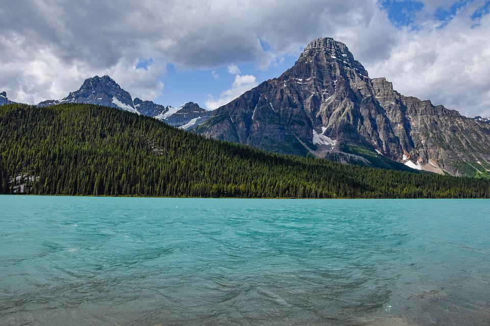 Lake, Mountains, Trees, Water, Rocky Mountains