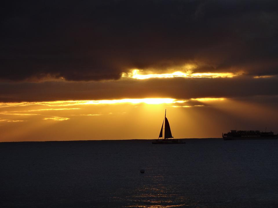 Sailboat, Sailing, Boat, Sunset, Silhouette, Water, Sea