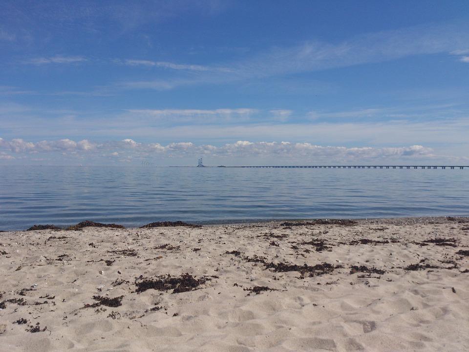Beach, Sea, Water, Sand, Sky, Bridge, Blue, Summer