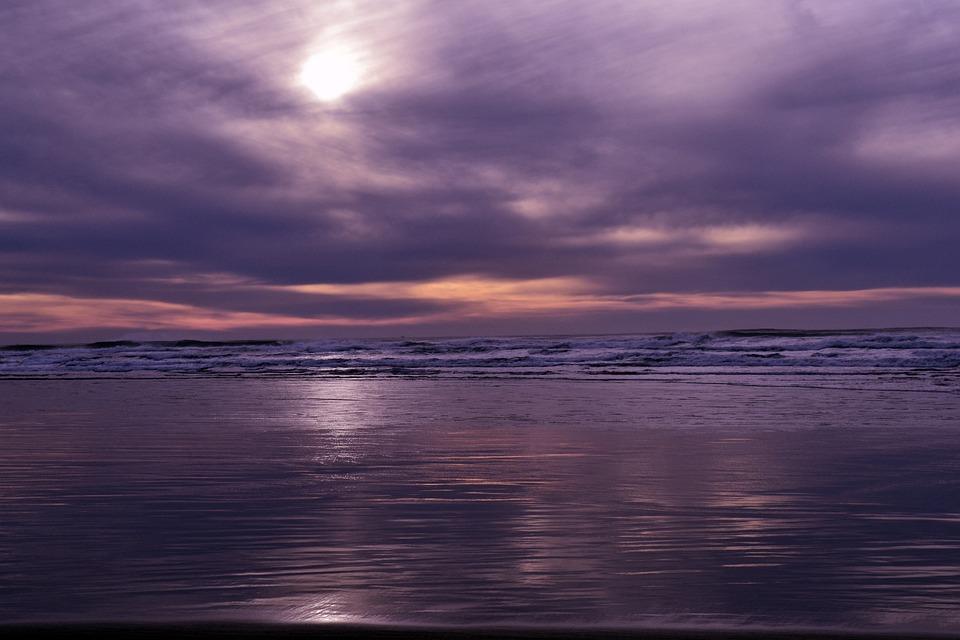 Purple, Beach, Sunset, Clouds, Sun, Water, Sand, Tide