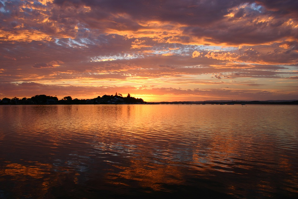 Lake, Sunset, Silhouette, Scenery, Nature, Water