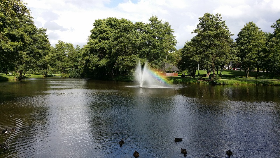 Park, Pond, Fountain, Sittensen, Scenic, Water, Germany