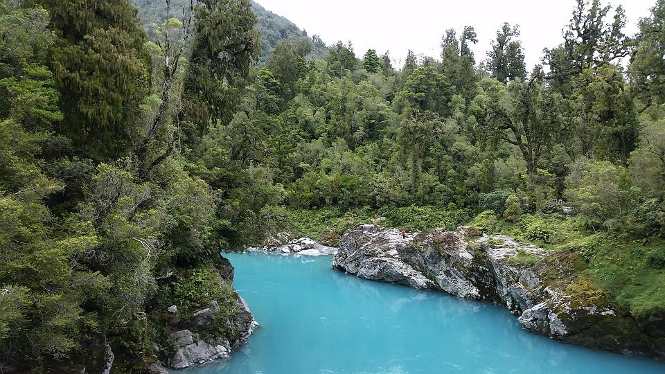 Glacial, Turquoise, Water, Trees, River, Nature, Scenic