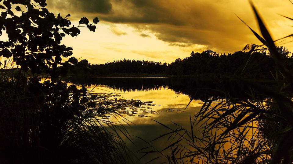 Sunset, Schreckensee, Water, Lake, Wolpert Turning